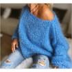 Pull en laine mohair bleu